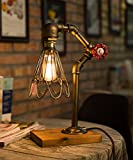 TOFAR Vintage Loft Industrial Wood Base Metal Pipe Bronze Modern Antique Table Light Fixture With Dimmer Switch Edison Bulb Lamp