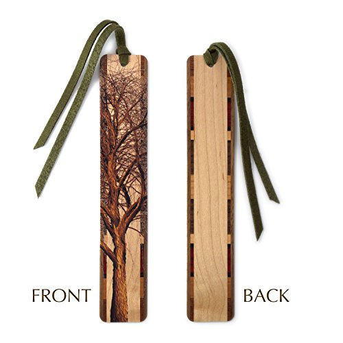 Winter Willow Tree in Color Wooden Hand Made Bookmark on Maple with Green Suede Tassel - Search B07994B3C3 to see personalized (Handmade Bookmark)