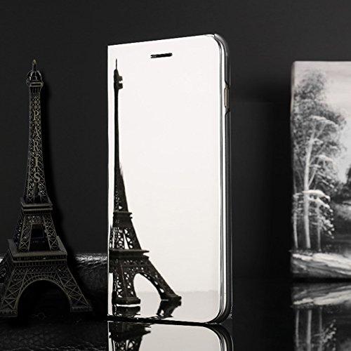 Funda Samsung Galaxy On5 2016 / J5 Prime Inteligente Case, Vandot Fecha / Hora Clear View Espejo Brillante Standing Flip Cover con Kickstand y Función de Dormir / Despertar Smart Cover para Samsung Ga Clear View-2