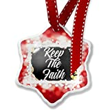 Christmas Ornament Floral Border Keep The Faith, red - Neonblond