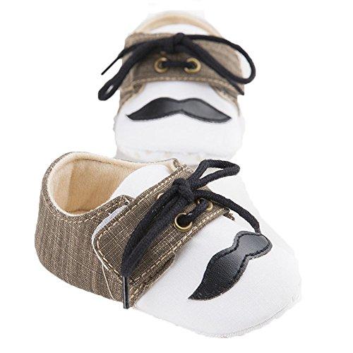 etrack-online Baby Boys Cute Moustache Lace Up Prewalker suave Suela zapatos de Moccasins rosa rosa Talla:12-18 mes marrón