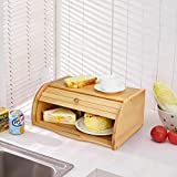 Bamboo Bread Box,Bread Holder and Food Storage Container for Kitchen,15.94 x 10.62 x 6.37in