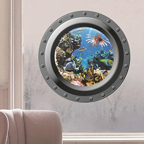 Iuhan® Fashion Submarine Window Underwater World 3D Wall Sticker Home - Underwater Window