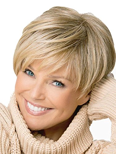 AmorWig Casual Short Straight Synthetic Fiber Blonde Hair Wig for Women