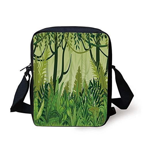 Plant,Cartoon Style Jungle Depiction Hand Drawn Digital Rainforest Leaves Bushes Trees,Jungle Green Print Kids Crossbody Messenger Bag - Bags Green Jungle Messenger