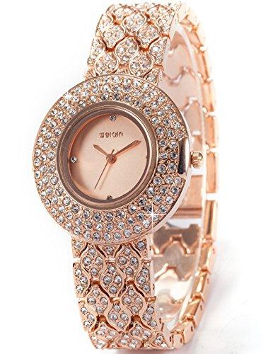 AMPM24 Crystal Lady Women Girl Rose Golden Bracelet Bangle Quartz Wrist Watch WQI007 (Bangle Bracelet Quartz Watch)