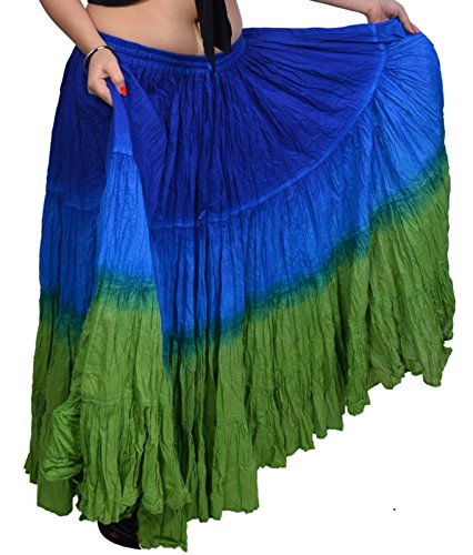 Wevez Women's ATS Tribal Dip Dye 25 Yard Skirt, One Size, Royal/Heena