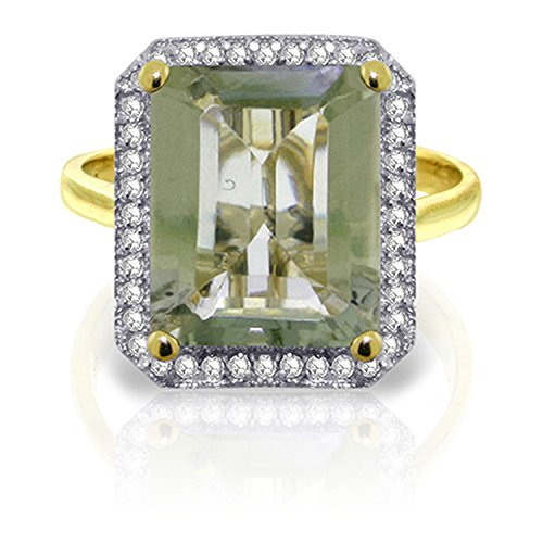 ALARRI 5.8 CTW 14K Solid Gold Notes From Portugal Green Amethyst Diamond With Ring Size - Portugal From Men