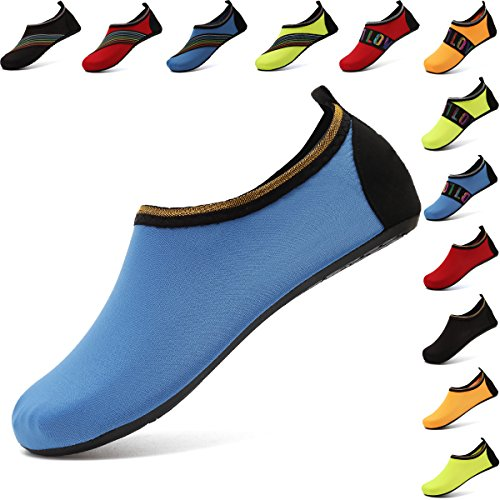 Water Boating (VIFUUR Water Sports Shoes Barefoot Quick-Dry Aqua Yoga Socks Slip-on for Men Women Kids SoidBlue-42/43)