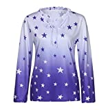 KaiCran Women Long Sleeve O Neck Letter Print Tops For Lady Casual T-Shirt Blouse (Blue, Large)