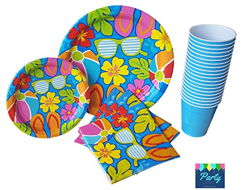 Luau Party - Pool Party Supplies Pack for 18 Guests Including Large Dinner Paper Plates, Dessert Plates, Napkins & Cups