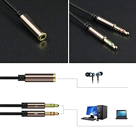 Cable Length: 0.3m, Color: Black Computer Cables 3.5mm AUX Jack Earphone Microphone 2 Male to Female Cable for PC Latpop Computer-PC Friend
