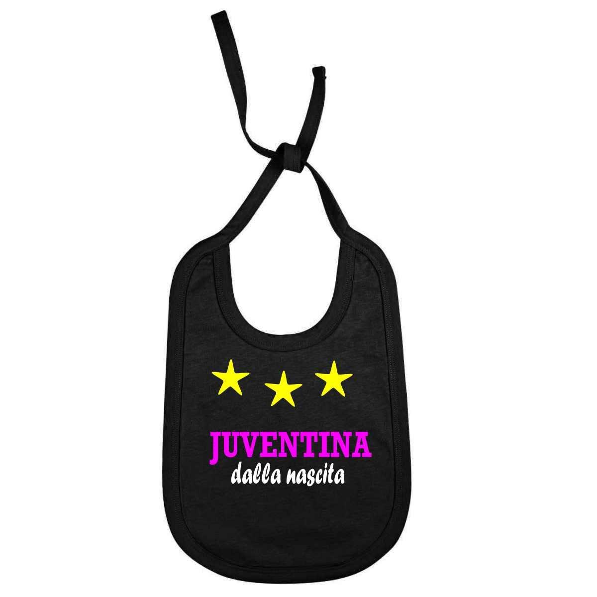 Bavaglino Personalizzato Juventina dalla nascita per piccole tifose della juventus juv-NE