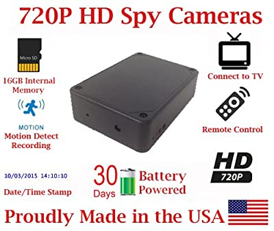 Black Box Spy Camera w/ 30 Day Battery Life Hidden covert Nanny cam by AES Spy Cameras