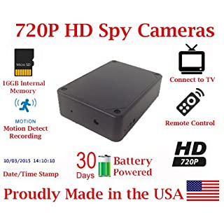 SecureGuard 30 Day Battery Powered 720P Black Box Spy Camera Hidden Compartment Nanny Cam Covert Camera Home and Law Enforcement Camera