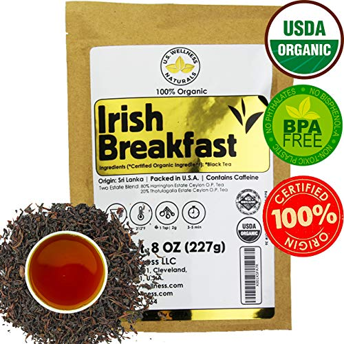 Leaf Ceylon Tea (Irish Breakfast Tea, SMOOTH, RICH & WELL-ROUNDED loose leaf tea, 110+ cups, 8oz, 100% ORGANIC CEYLON (2 Estate Blend), fresh new harvest, OP grade tea, U.S.A Processed & Quality Control)