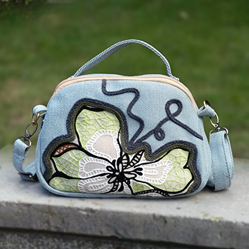Magnolia Bisser niñas para Azul pequeño Bag BISSER National azul Girl claro Wind Claro de Casual Cloth Fresh Mano Bolso Handbags de Bag Shoulder fnX8xYaH