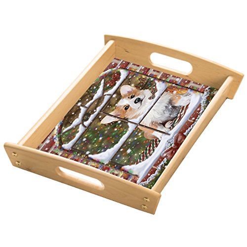 Please Come Home For Christmas Corgis Sitting In Window Wood Serving Tray with Handles Natural
