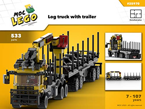 Log truck with trailer (Instruction Only): MOC LEGO por Bryan Paquette