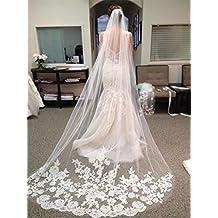 Bridess Women's Long Wedding Bridal Veils Lace Edge