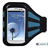Premium Sport Armband Case for LG G4, C40 (Leon)/H320, LS885 (G3 Vigor), G3, VS450PP (Optimus Exceed 2), VS876 (Lucid 3), D415 (Optimus L90), LS740 (Volt), MS323 (Optimus L70), D820 (Nexus 5), MS500 (Optimus F6), VS980 (G2), D800 (G2) - Black (with Baby Blue Mess Ports)+ MYNETDEALS Mini Touch Screen Stylus