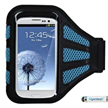 Premium Sport Armband Runner/ Running Case Pouch for Samsung Galaxy S6/ S6 Edge/ S5/ S5 Active/ S4 Active/ S4/ S3/ E5/ A5/ Alpha, LG G3/ G2, HTC Desire 510/ One M8/ One M9/ One E8 - Black (with Baby Blue Mess Ports)+ MYNETDEALS Mini Touch Screen Stylus