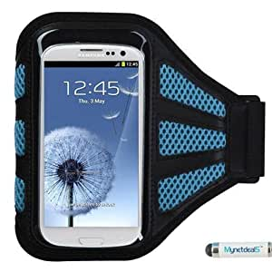 Premium Sport Armband Case for Samsung Galaxy S5 Sport/ G860 - Black (with Baby Blue Mess Ports)+ MYNETDEALS Mini Touch Screen Stylus
