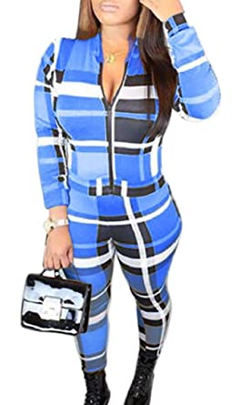 d26d5dccb7 HTOOHTOOH Women s Casual Plaid Long Sleeve Zip Pants Skinny Jumpsuits  Rompers Blue XS