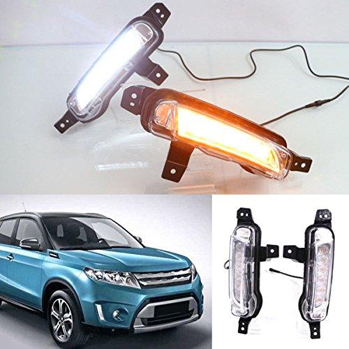 [해외]2X LED 주간 주행 등 DRL 안개 램프 스즈키 Vitara 2015 2016 2017 2018와 호박색 회전 신호 램프 CNAutoLicht / 2X LED Daytime Running Lights DRL Fog Lamp For Suzuki Vitara 2015 2016 2017 2018 With Amber Turn Signal Lamp CNAutoLicht