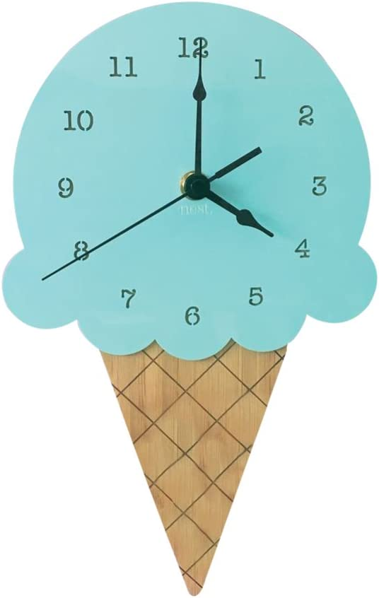 AkoMatial Wooden Ice Cream Shape Silent Wall Clock Home Living Room Office Kids Bedroom Decor