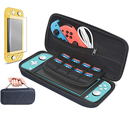 Carrying Case for Nintendo Switch Lite,Hard Shell Switch Lite Carrying Case with 1 Tempered Glass Screen Protector EVA Travel Storage Case Pouch for Nintendo Switch Lite Console Accessory(Mesh Black)