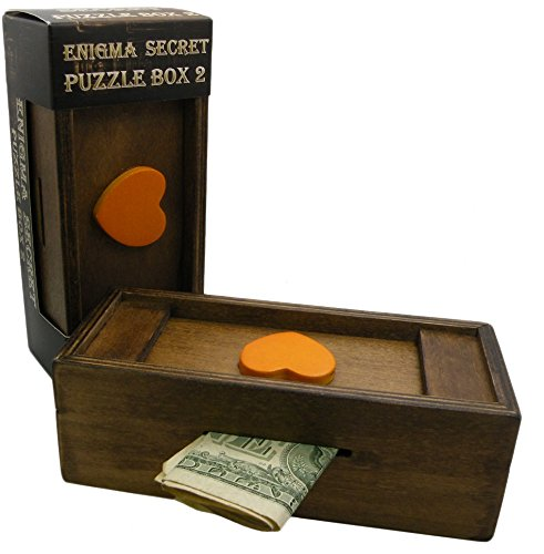 Puzzle Box Enigma Secret Heart - Money and Gift Card holder in a Wooden Magic Trick lock with hidden Compartment Piggy Bank Brain Teaser Game