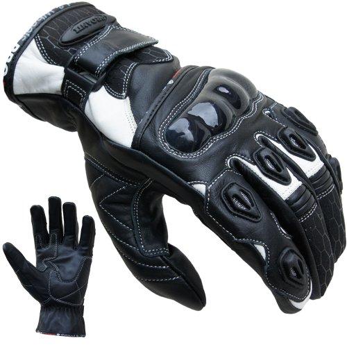 PROANTI Motorradhandschuhe Leder kurz Motorrad Handschuhe weiß