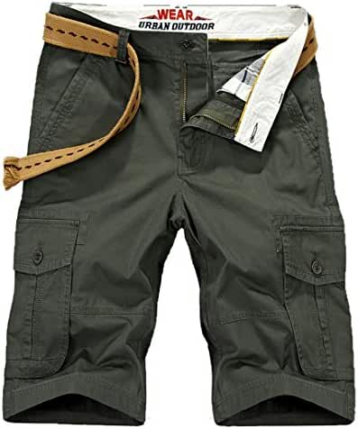 Vcansion Men's Lightweight Cotton Summer Multi Pocket Cargo Shorts