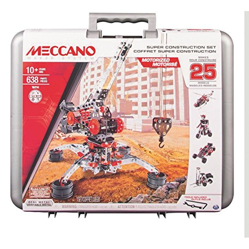 Motorized Set (Meccano Super Construction Set, 25 Motorized Model Building Set, 638 Pieces, For Ages 10+, STEM Education Toy)