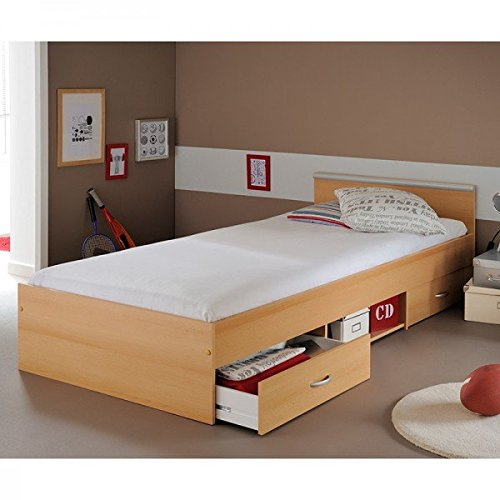 Funktionsbett Alawis 90*200 cm buche beige inkl 2 Roll-Bettkästen Kinderbett Jugendbett Jugendliege Bettliege Bett Jugendzimmer Kinderzimmer