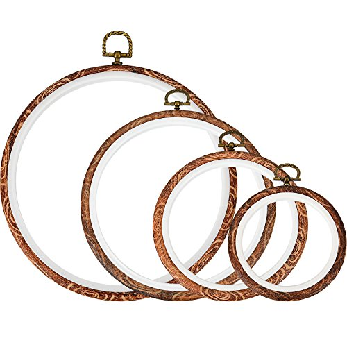 - Tatuo 4 Pieces Embroidery Hoop Cross Stitch Hoops Imitated Wood Embroidery Circle for Art Craft Handy Sewing and Hanging