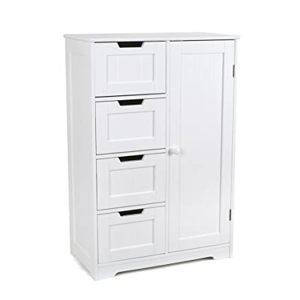 Amazon Com Homfa Bathroom Floor Cabinet Wooden Free Standing