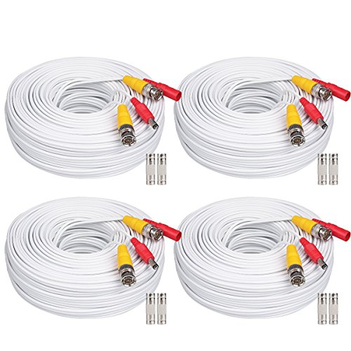 (WildHD 4x200ft BNC Cable All-in-One Siamese Video and Power Security Camera Cable Extension Wire Cord with 2 Female Connetors for All HD CCTV DVR Surveillance System (200ft 4pack Cable, White))