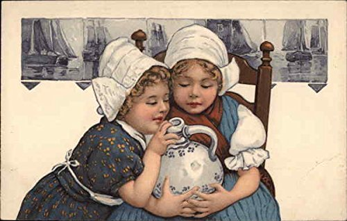 Dutch Girls with Jug Dutch Children Original Vintage Postcard (Jug Dutch)