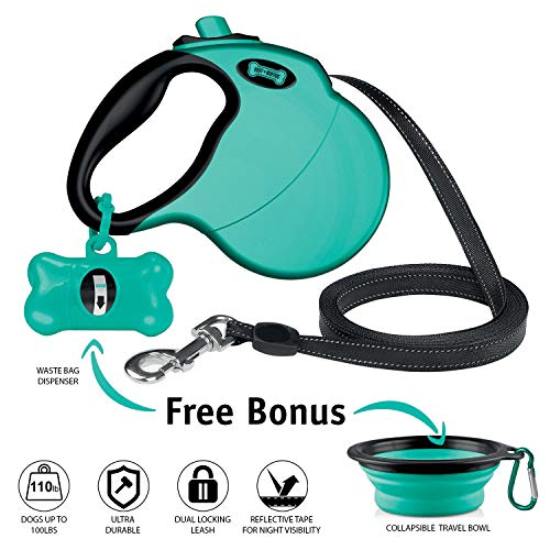 - Ruff 'n Ruffus Retractable Dog Leash with Free Waste Bag Dispenser and Bags + Bonus Bowl | Heavy-Duty 16ft Retracting Pet Leash | 1-Button Control | Durable (Auqa (with Free Bonus))