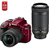 Nikon D3400 24.2MP DSLR Camera w/ AF-P 18-55 VR & 70-300mm Dual Lens (Red) - (Certified Refurbished) + 1 Year Extended Warranty