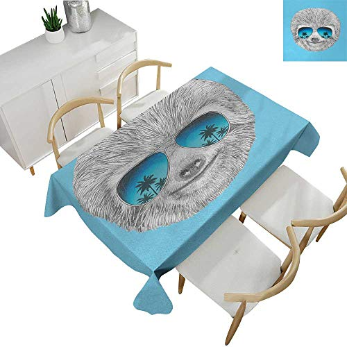 Sloth,Fitted tablecloths Portrait of Sloth with Mirror Sunglasses Exotic Palm Trees Hawaiian Beach Hipster Dinner Picnic Table Cloth Grey Blue Aqua 60