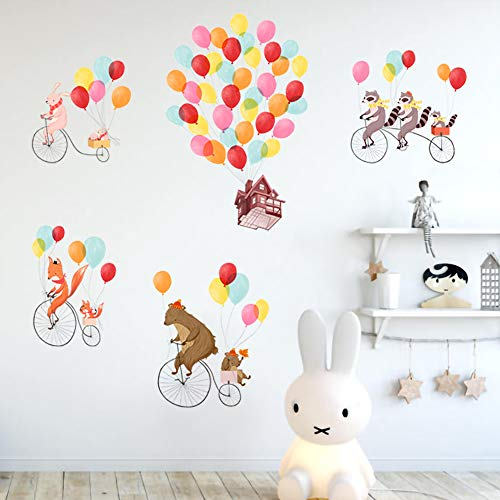 ufengke Animals Travel Wall Stickers Balloons House Bicycle Wall Art Decals for Nursery Kids Bedroom