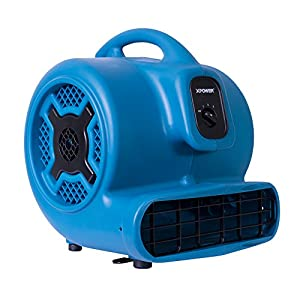 XPOWER P-830 Professional Air Mover, Carpet Dryer, Floor Fan, Blower for Water Damage Restoration, Commercial Cleaning and Plumbing Use-1 HP, 3600 CFM, 3 Speeds, Blue