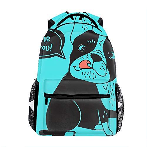 Lightweight Dog French Bulldog Love Kiss School Backpack Waterproof Book Bag for Girls Teens Kids ()