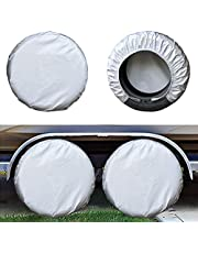 kayme Four Layers Tire Covers Set of 4 for Rv Travel Trailer Camper Vinyl Wheel, Sun Rain Snow Protector, Waterproof, Silver……