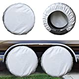 Kayme Four Layers Tire Covers Set of 4 for Rv Travel Trailer Camper Vinyl Wheel, Sun Rain Snow Protector, Waterproof, Silver, Fits 27-29 Inch Tire Diameter L