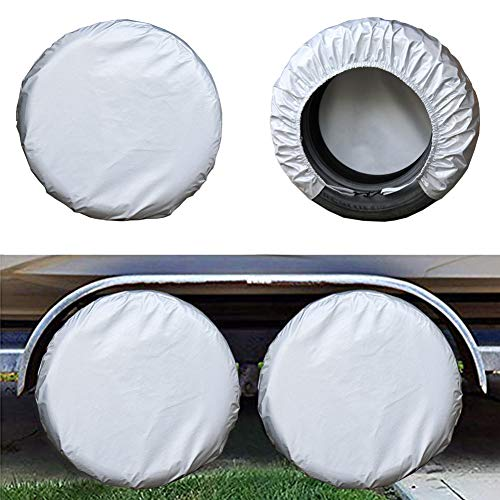 Kayme Four Layers Tire Covers Set of 4 for Rv Travel Trailer Camper Vinyl Wheel, Sun Rain Snow Protector, Waterproof, Silver, Fits 27-29 Inch Tire Diameter L (Spare Tire Cover 4x4)