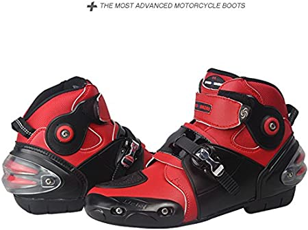 Mylujo Motorcycle Boots Soft Biker Speed Motocross Boots Non-slip Motorcycle Shoes Motorbike Waterproof Boots for Men Boys white 7
